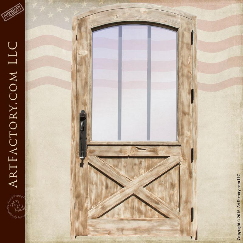 Custom Exterior Door Arched Door Crossbuck Panel