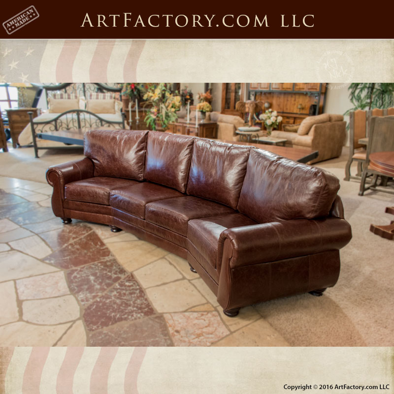Curved Yellow Leather Sofa: Curved Four Cushion Full Grain Leather Sofa