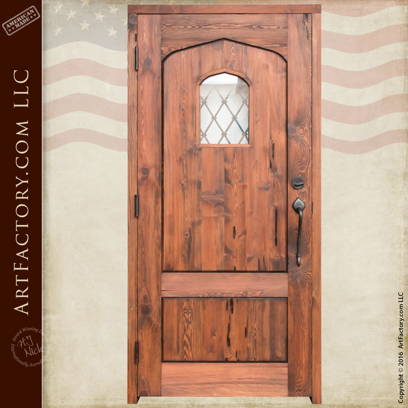 Custom Entrance Door Decorative Strap Door With Grill