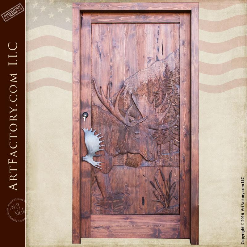 Moose Theme Hand Carved Door