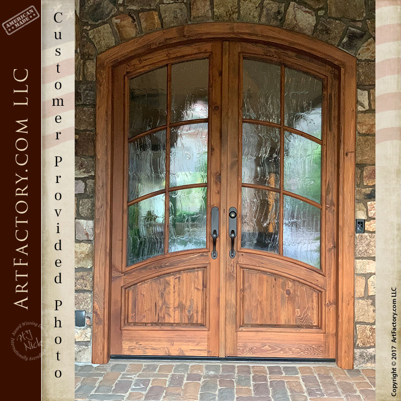 solid wood French panel door installed