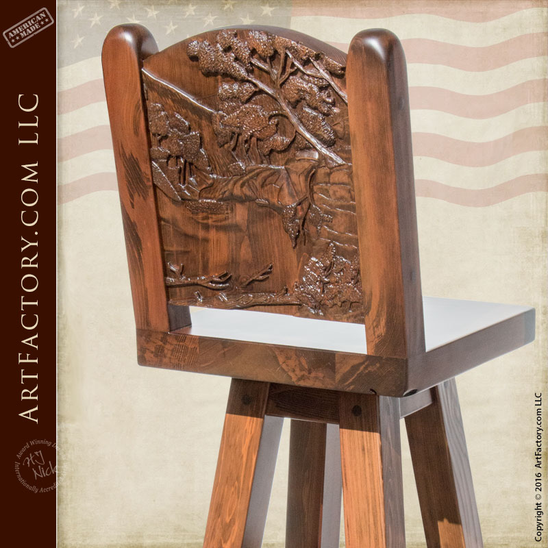 Custom Wood Bar Stools Hand Carved Nature Scene