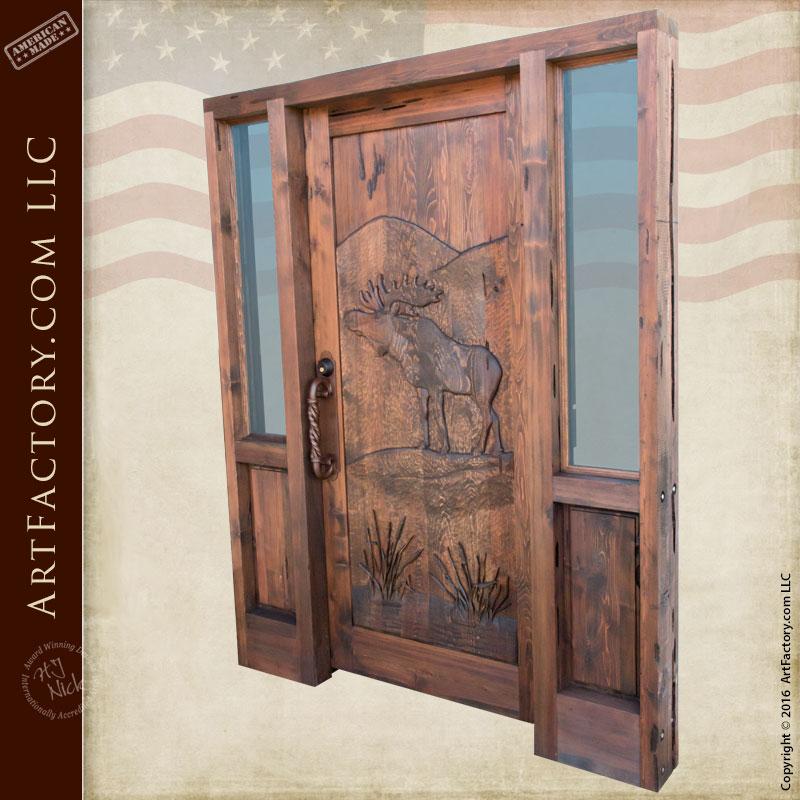 Carved Wood Doors Majestic Moose Rustic Doors