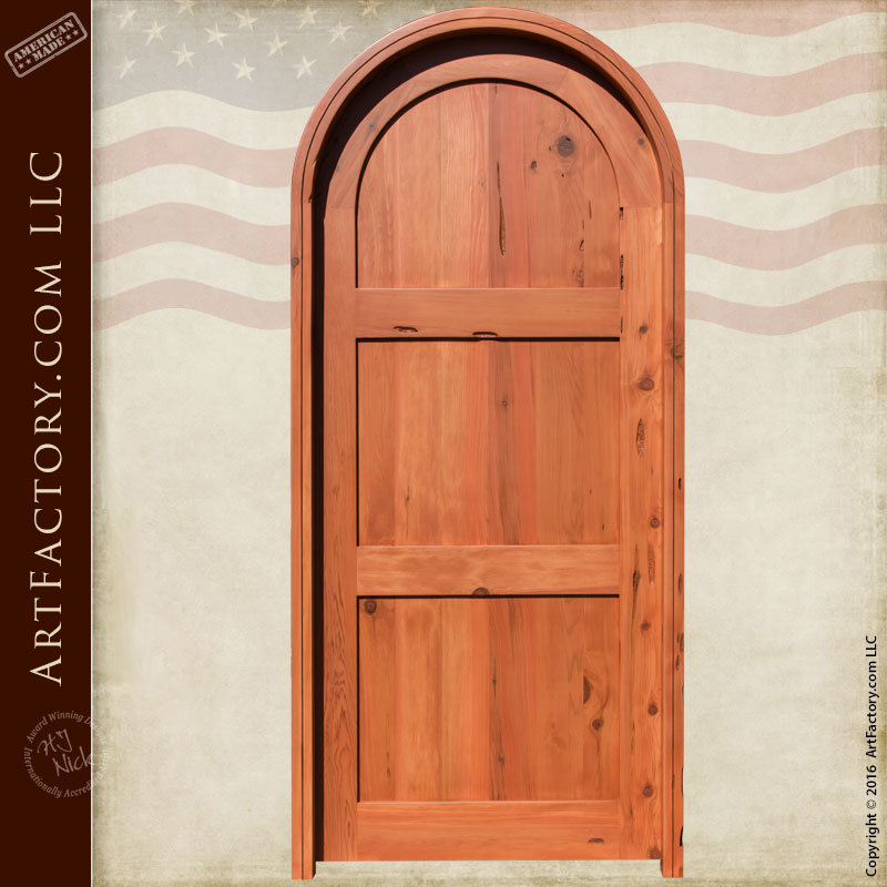 Classic Three Panel Door Solid Arched Castle Doors