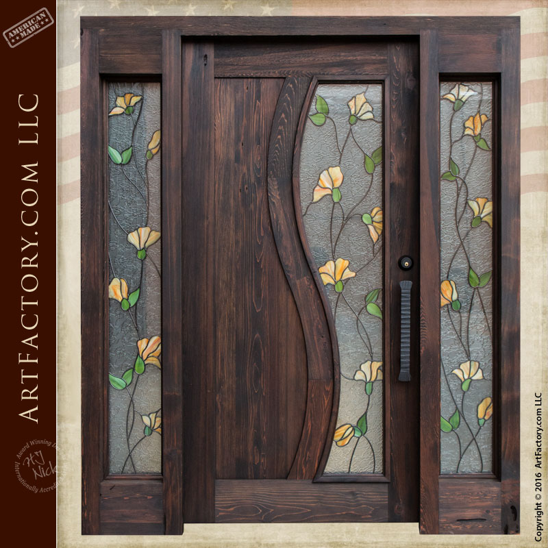 Tulip stained glass door craftsman entry door with sidelights for Entrance door with window