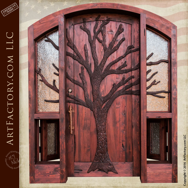 Hand Carved Tree Entrance Door Lodge Or Cabin Doors With