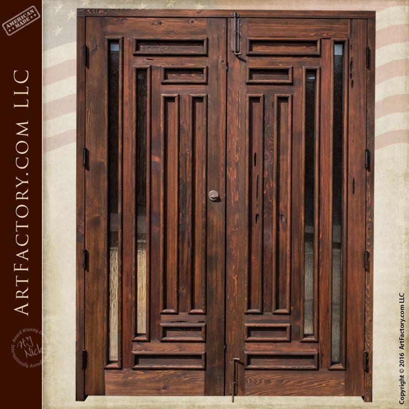 Handmade exterior double doors custom glass panel inserts for Hardwood doors for sale