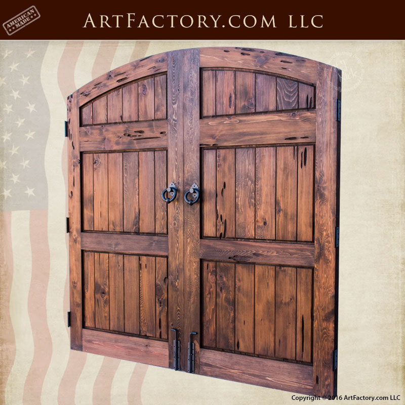 Solid Wood Carriage Doors Custom Wrought Iron Hardware