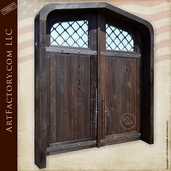 Cathedral Style Entry Doors Solid Wood With Custom Iron