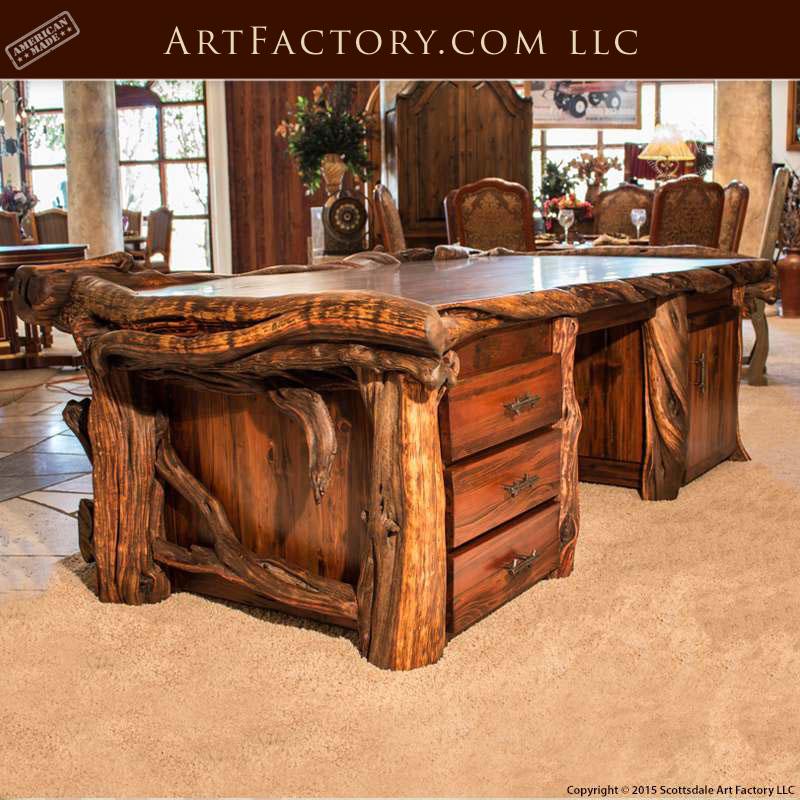 Rustic Americana Hardwood Executive Desk Home Office: Custom Log Style Executive Desk: Fine Art Wild Wood Desk