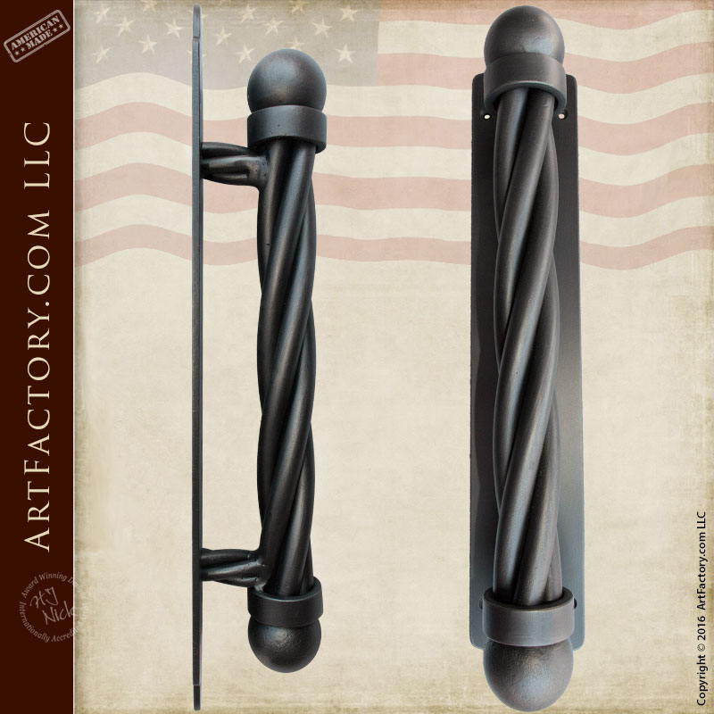 Ball And Twist Door Pull Solid Wrought Iron With Back Plate