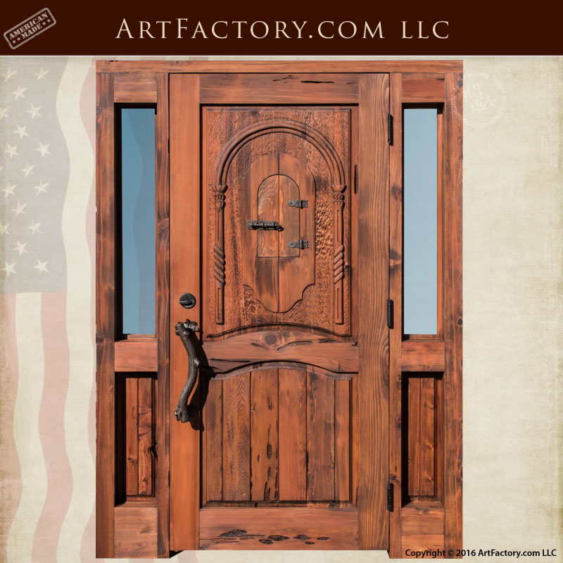 Solid Wood Log Style Entry Door With Sidelights