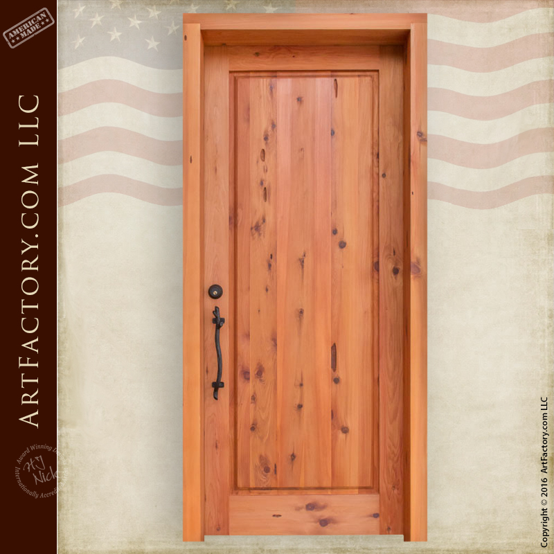 classic flat panel exterior door straight top hand forged iron hardware