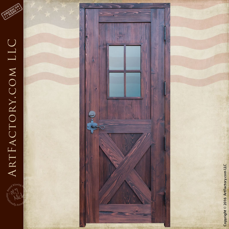 Cross Buck Divided Light Entry Door With Wrought Iron