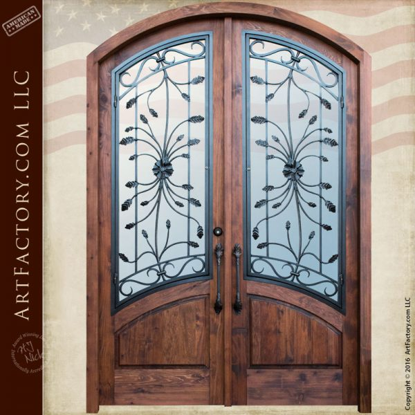 custom eyebrow arched double doors