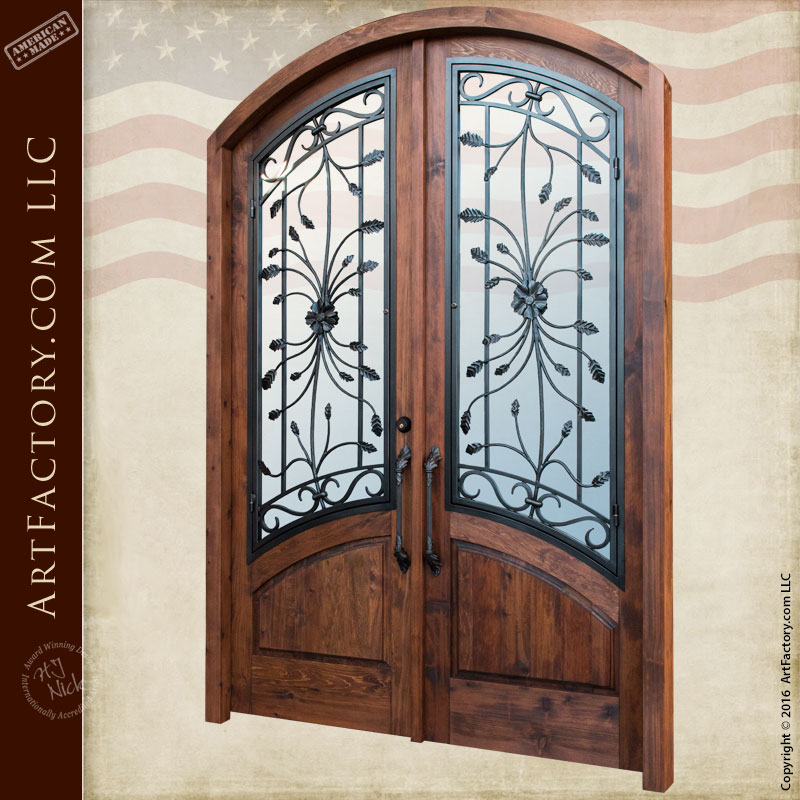 Custom Eyebrow Arched Double Doors With Hand Forged