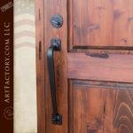 custom solid wood front door with elegant custom iron door pull