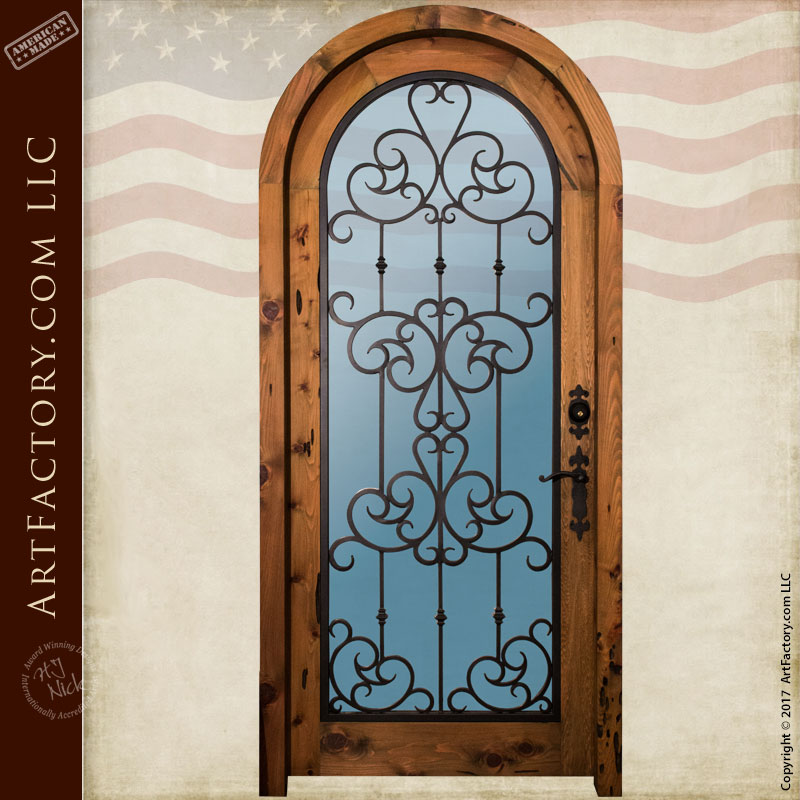 arched wood iron glass entry door