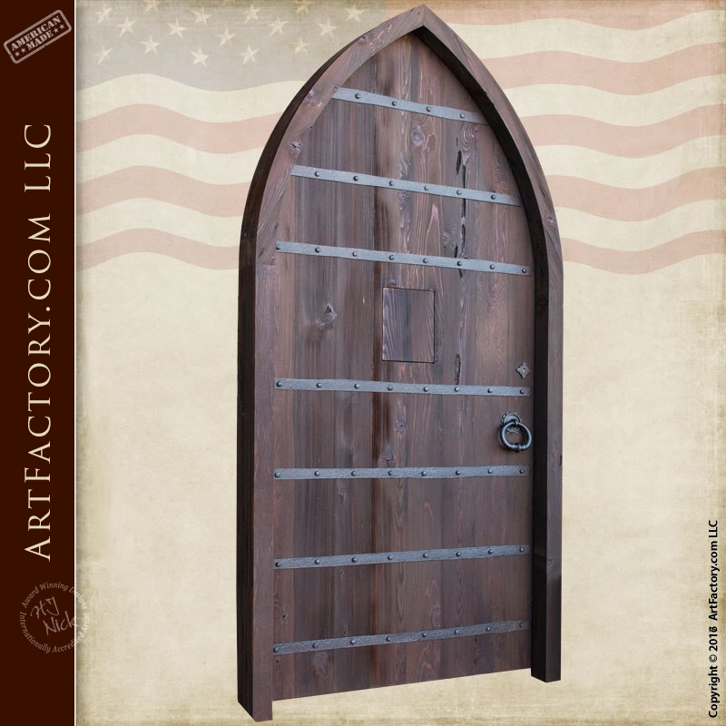 Cathedral Style Arched Door Entrance Door With Speak Easy