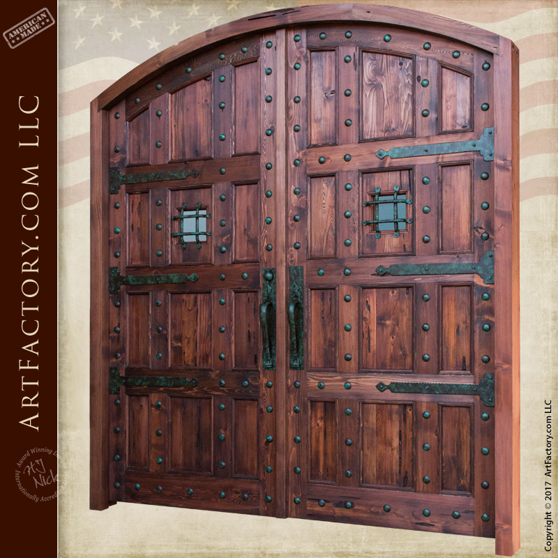 Castle Style Arched Double Doors Custom Hand Forged Iron