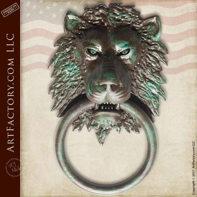 Lion head custom door knocker made with hammer anvil for Custom made door knockers