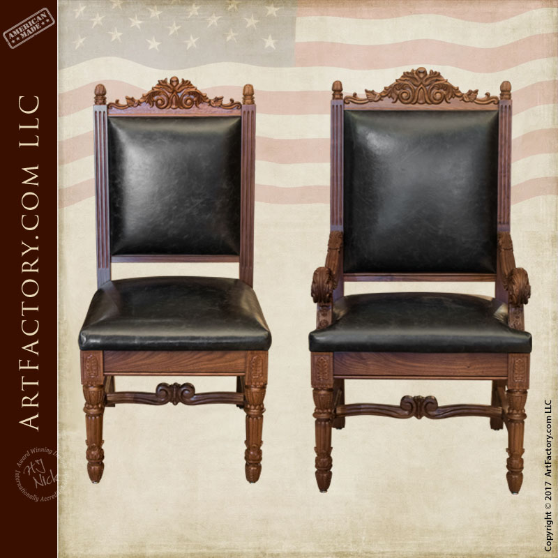 hand carved walnut dining chairs