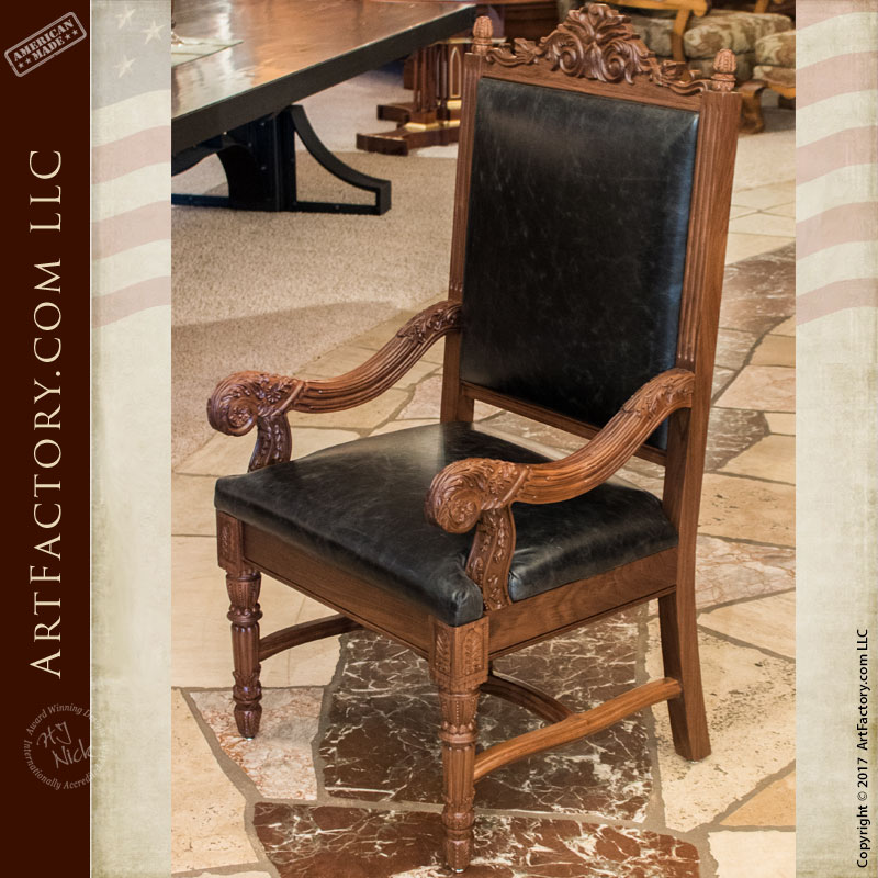hand carved dining table matching chairs