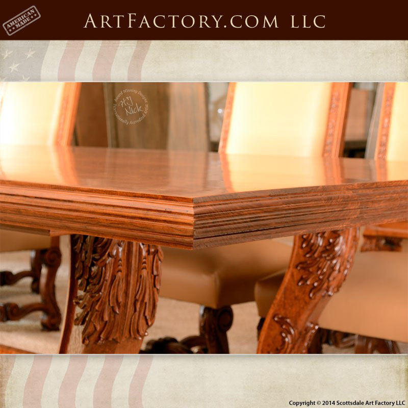 Hand Carved Cherry Dining Table Fine Art Quality Hardwood