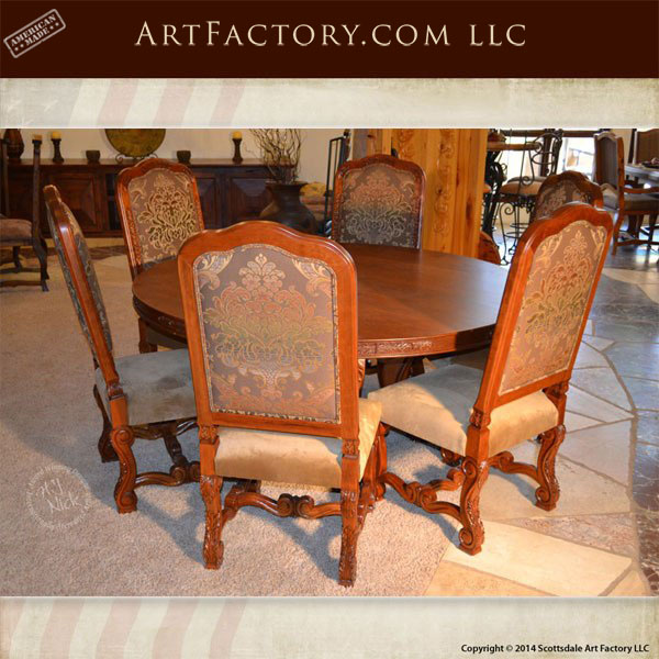 Traditional Cherry Casual Carved Design Dining Room Round: Hand Carved Solid Cherry Round Dining Table: 7 Piece