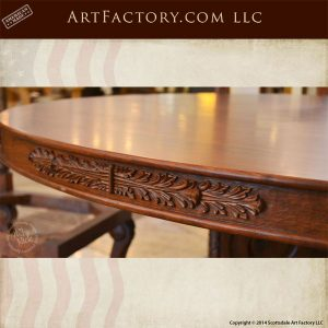 hand carved solid cherry round dining table