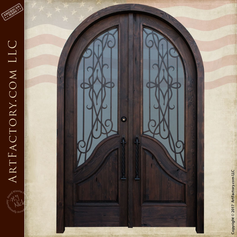 Forged Iron Doors : Arched entry door with hand forged iron security