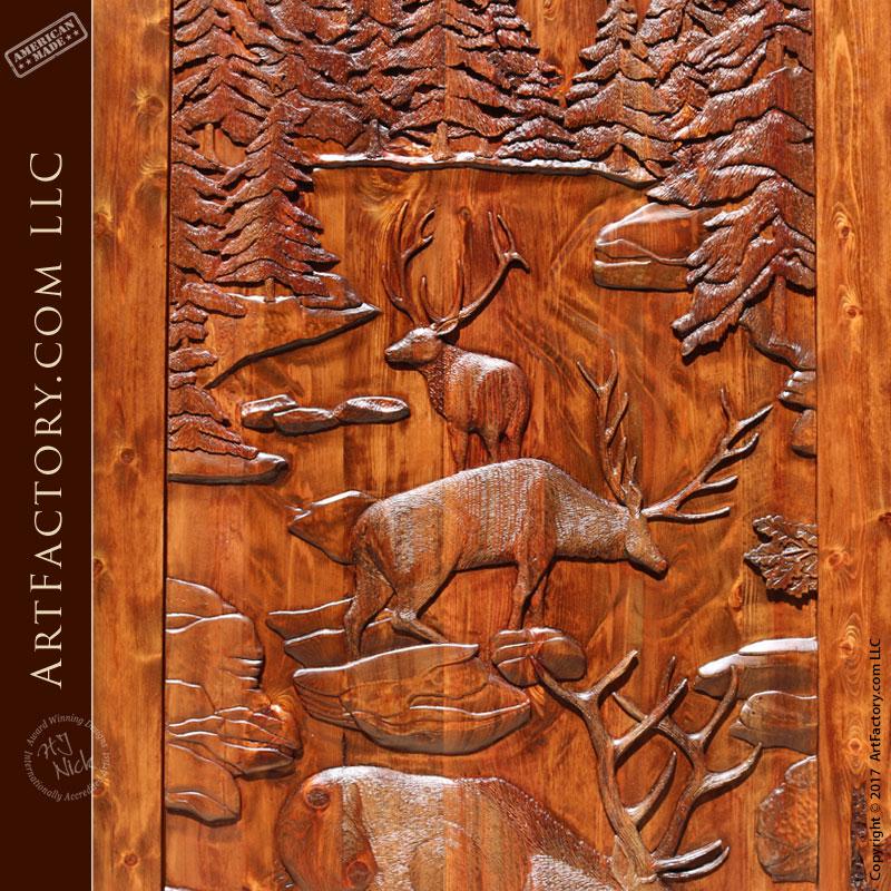 Hand Carved Barn Door Fine Art Solid Wood Sliding