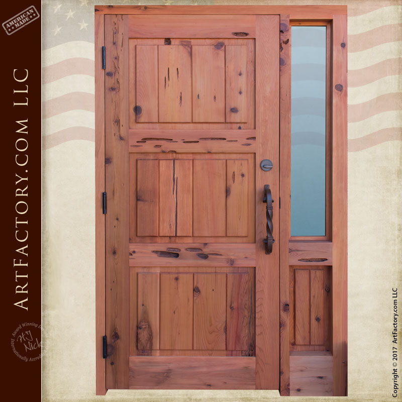 Solid Wood Fortress Security Door Custom Hand Crafted With Sidelight