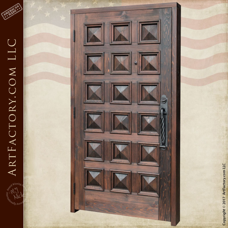 Pyramid Panel Door Handcrafted Solid Wood Entrance With