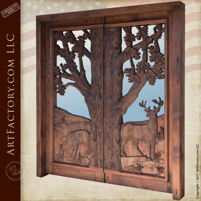 Hand Carved Cabin Entrance Door Custom Deer In Woods Theme