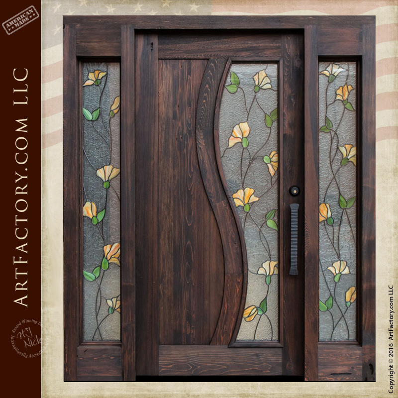 Tulip Stained Gl Door Craftsman Entry With Sidelights