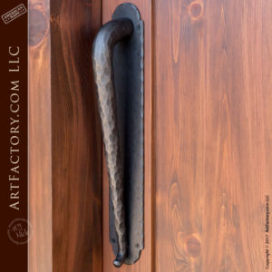 custom wood speakeasy door with hand hammered iron door pull