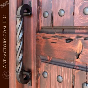 castle entrance door with our c-scroll twisted door pull