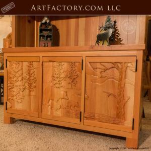 solid wood display cabinet lodge theme hutch