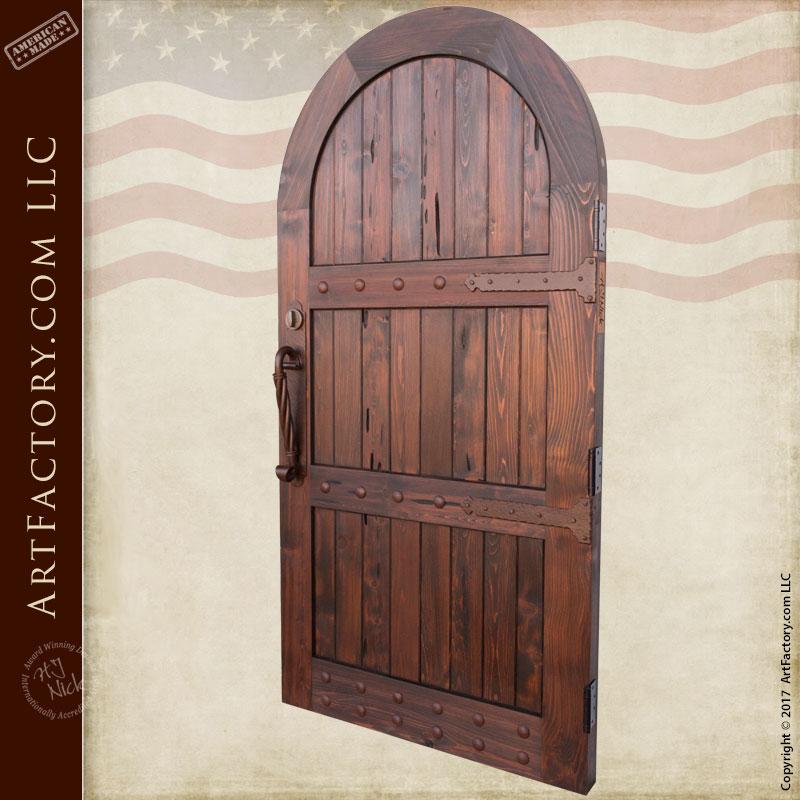 Custom Wood Gates: Arched Wooden Garden Gate: Custom Vertical Groove Design