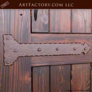 arched wooden garden gate with medieval style custom iron strap hinge
