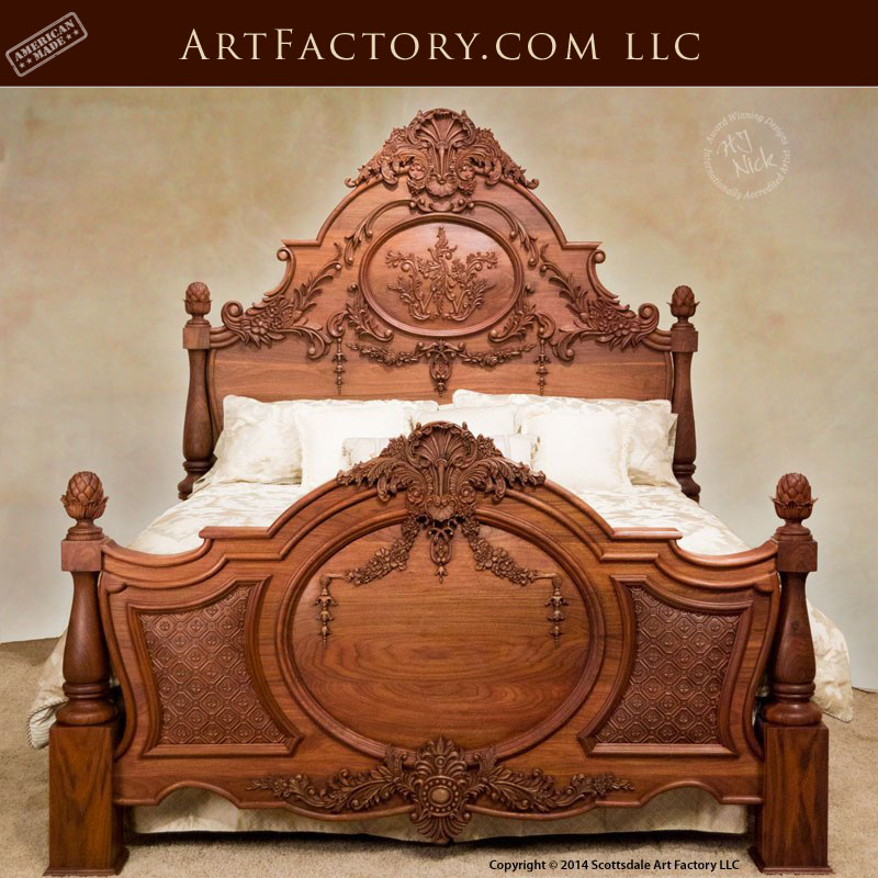 hand carved walnut bed