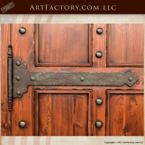solid wood castle door, iron strap hinges