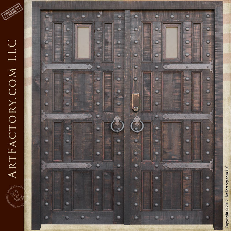 Castle style entrance double doors custom wrought iron for Custom made wood doors