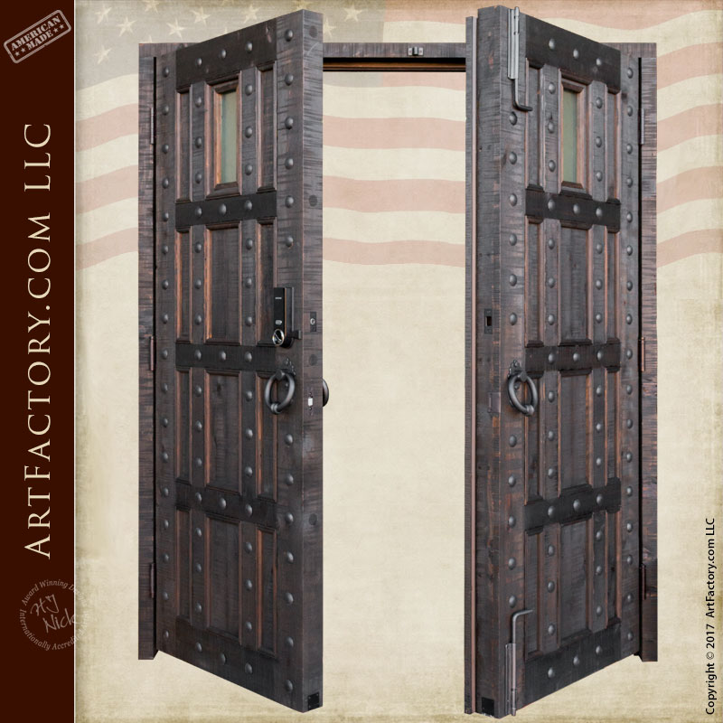 Castle style entrance double doors custom wrought iron - Wrought iron exterior door hardware ...