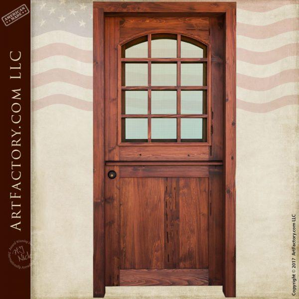 Custom wood iron and glass doors hand built by master for 12 pane exterior door