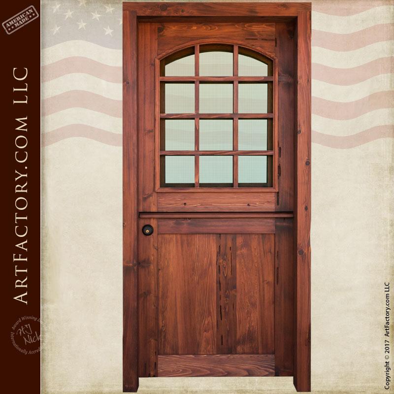 Custom Dutch Door Solid Wood Entry Door 12 Pane Glass Panel