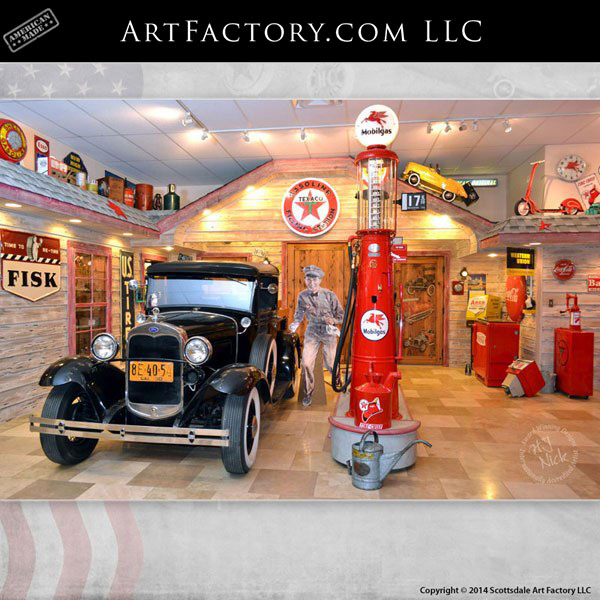 Retro Man Cave Collectibles Display Route 66 Texaco Station