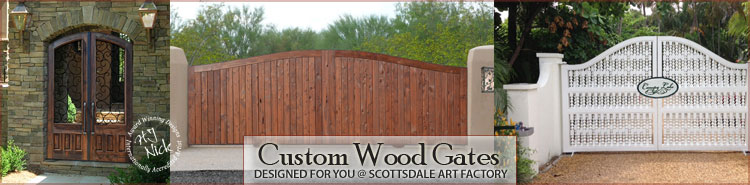 custom wood iron gates