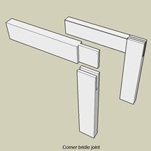Wood furniture corner bridle joint